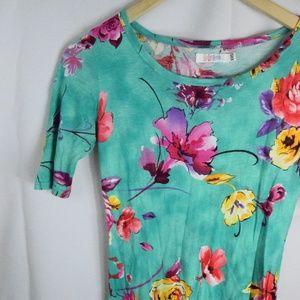 Lularoe Mint Green Floral Julia Pencil Dress XXS